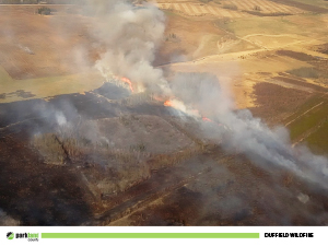 Aerial view of the 2016 Duffield fire.